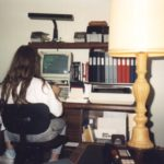 Jessica talked on a Bulletin Board System with her dad's Packard Bell computer. (11/1988)