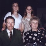 Jessica, Kathleen, Doug and Florence Cole pose at Kathleen's UofM graduation dinner. (5/4/1997)