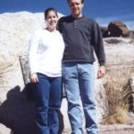 Jessica Cole and Andrew Green pose at the Petroglyphs in Arizona. (3/1/199)