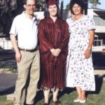 Jessica stands proud with her parents, Doug and Diane, at her graduation from ASU College of Business. (5/13/1999)