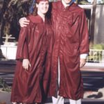 Jessica Cole and Andrew Green pose together before their ASU College of Business graduation ceremony. (5/13/1999)