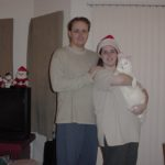 Andrew Green, Jessica Cole, and her cat Olly in Boston, MA. Christmas 2000. (11/24/2000)