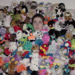 Jessica Cole with all of her collectible Puffkins. (1/17/2001)