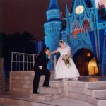 Newlyweds Andrew and Jessica Green pose in front of Cinderella's Castle, at Walt Disney World. (2/2/2002)