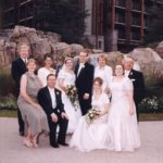 Family photo after the wedding of Andrew and Jessica Green at the Wilderness Lodge, at Walt Disney World. (2/2/2002)