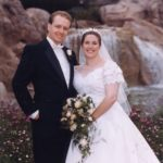 Newlyweds Andrew and Jessica Green after their wedding ceremony at the Wilderness Lodge, at Walt Disney World. (2/2/2002)