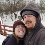 Jessica and Andrew pose on the snow covered Tridge in Midland, MI. (1/21/2004)