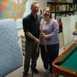 Doug and Jessica pose after playing so pool in the basement. (1/24/2004)