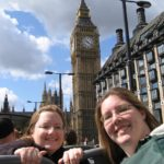 Jessica and Amy enjoy a double-decker bus tour in London, England. Note Big Ben in the background! (7/8/2006)