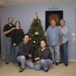 The Green and Fox families pose around the Christmas tree. (12/9/2007)