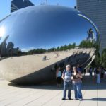Karen and Jessica pose in front of the Cloud Gate in Chicago, IL. (7/9/2008)