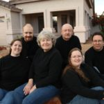 The Green and Fox families pose for this portrait outside Andrew and Jessica's home in Gilbert, Arizona. (11/25/2008)