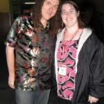 Jessica meets celebrity artist Weird Al Yankovic during the Party at Paramount Studios, part of Botcon 2009. (5/30/2009)