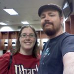 Jessica and Andrew check out the Diamondbacks visitor's locker room at Chase Field. (10/24/2009)