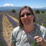 Jessica holds some freshly picked lavender in the fields near Mount Shasta in California. (7/6/2010)