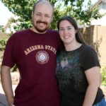 Andrew and Jessica pose in the backyard of their Gilbert home. (9/4/2011)