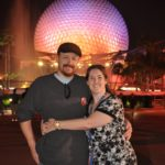 Andrew and Jessica pose in front of Spaceship Earth at Epcot, Walt Disney World. (2/1/2012)