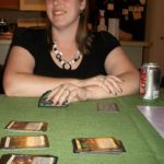 Jessica playing her favorite card game, Dominion. (4/13/2012)