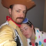 "Andrew, as Woody from Toy Story, and Jessica, as ""Sleepy"", dress up for Halloween. (10/31/2012)"