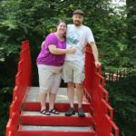 Jessica and Andrew pose on a bridge at Dow Gardens. (7/24/2015)