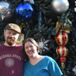 Andrew and Jessica pose in front of a giant Christmas tree found at Disneyland. (12/5/2015)