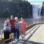 Jessica, Andrew, Karen, and Jerry pose for a photo near Montmorency Falls. (8/26/2016)