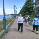 Karen, Jerry, and Jessica walking along the boardwalk in Nova Scotia. (8/31/2016)