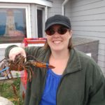 Jessica holding a lobster in Nova Scotia. (9/1/2016)
