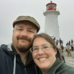 Andrew and Jessica pose beneath a lighthouse in Nova Scotia. (9/1/2016)