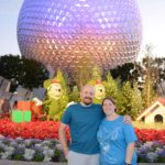 Andrew and Jessica pose in front of Spaceship Earth at Epcot, Walt Disney World. (12/14/2016)