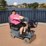 Jessica poses in the ECV she rented at Epcot, Walt Disney World. (12/15/2016)