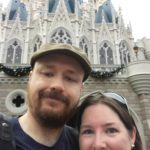 Andrew and Jessica pose at the bottom of Cinderella's Castle at the Magic Kingdom for Andrew's 40th birthday. (12/19/2016)